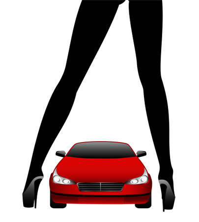 Silhouette of beautiful glamour girl sitting by the red car photo