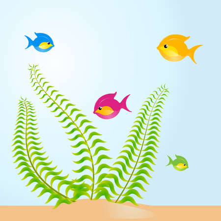 fish in an aquarium a white background for design Vector