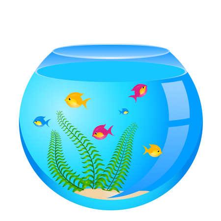 poissons dans un aquarium, un fond blanc pour la conception Vecteurs