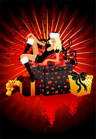 beautiful snow Maidens and gifts with a bow on a abstract background for Christmastides Stock Photo - 5898103
