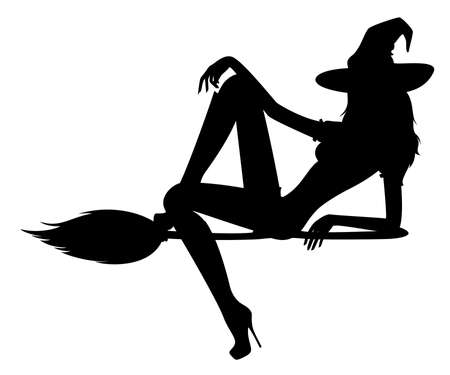 beautiful sexual witch sits on a broom photo