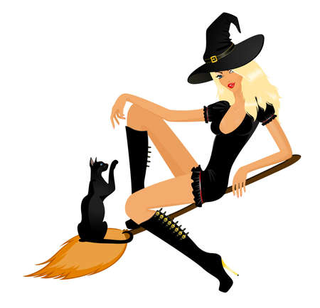 sexy halloween girl:  beautiful sexy witch on a broom with a black cat