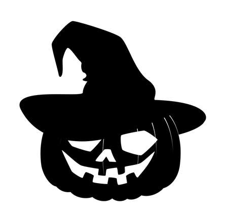 The carved face of pumpkin glowing on Halloween is in the black hat photo