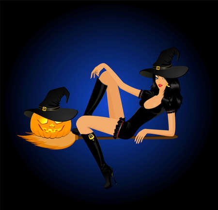 beautiful sexy witch on a broom with pumpkin photo