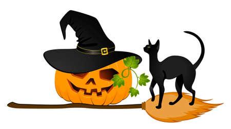 halloween pumpkin and black cat photo