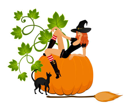 beautiful sexual witch sits on a pumpkin photo