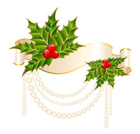 Christmas holly decorate with free stroke ribbons border Stock Photo - 5898158