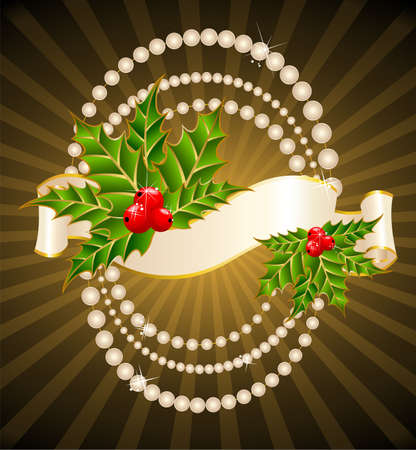 Christmas holly decorate with free stroke ribbons border Stock Photo - 5898153
