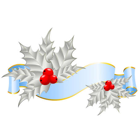 trumpery: Christmas holly decorate with free stroke ribbons border