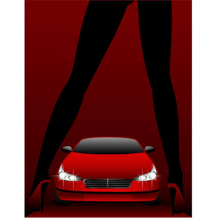 Silhouette of beautiful glamour girl sitting by the car Stock Vector - 5910112