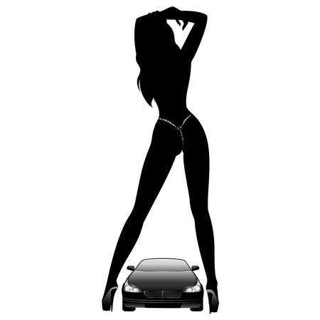 tuning:  Silhouette of beautiful glamour girl sitting by the car Illustration