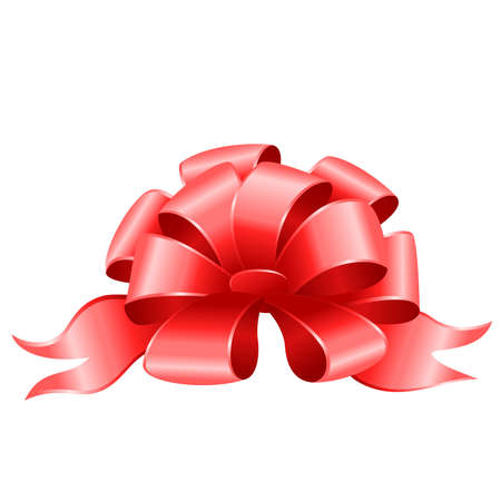 new yea: arco de regalo escarlata sobre un fondo blanco  Vectores