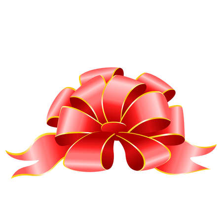 yea: scarlet gift bow on a white background Illustration