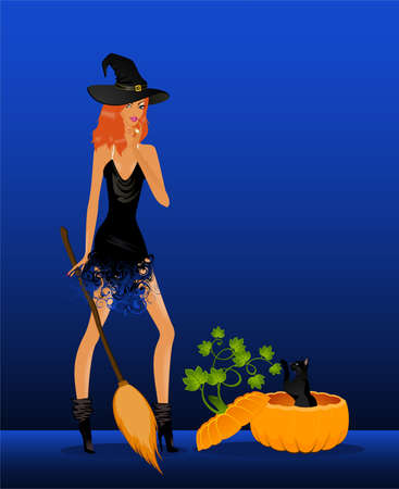 beautiful sexual witch and pumpkin for a design on halloween Vector