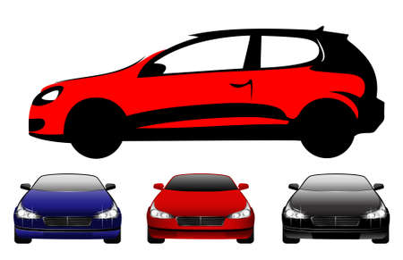 full face: set of beautiful cars full face and type for a design on a background
