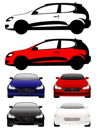 set of beautiful cars full face and type for a design on a background Stock Vector - 5996737