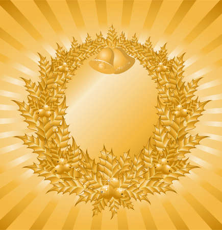 furtree: Beautiful christmas wreath with a gold berry for a design Illustration