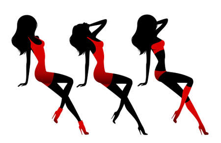 asterisks: Silhouette of the beautiful girl on a white background for design