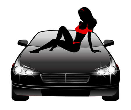 Silhouette of beautiful glamour girl sitting by the car Vector