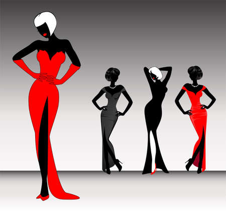 sexuality: set of beautiful silhouettes of girls on  background for a design Stock Photo