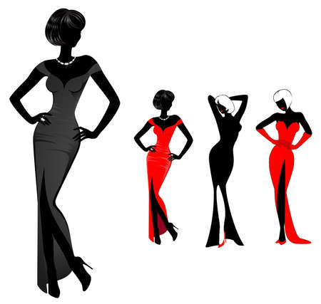 sexy dress: set of beautiful silhouettes of girls on a white background for a design