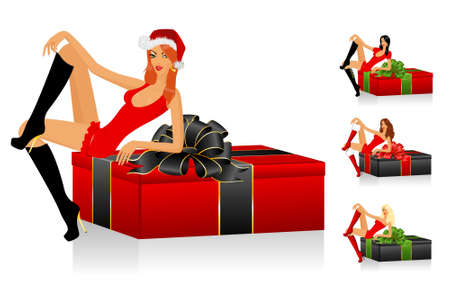 beautiful snow Maidens and gifts with a bow on a background for Christmastides Stock Photo - 6029119