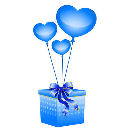 christmas gift with balloons in form hearts on a white background Vector