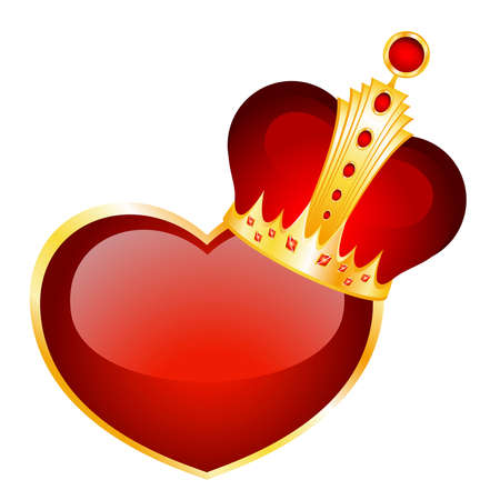 beautiful red heart in a crown for a design on the day of Valentine Vector