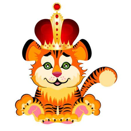 signo años 2010 es un hermoso Tigre poco en una corona sobre un fondo blanco  Vectores