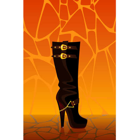 allure: beautiful female boots on a high heel on a bright background for a design