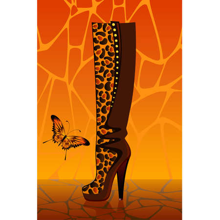 beautiful female boots on a high heel on a bright background for a design Vector
