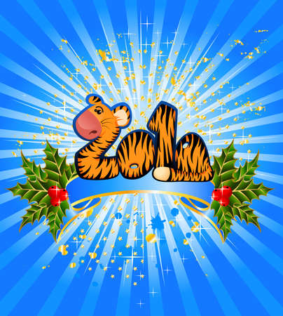 sign 2010 years is a beautiful little tiger in a christmas frame photo