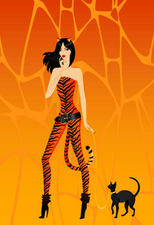 tigress:  beautiful girl in a suit tigress with a lady-cat on a leash