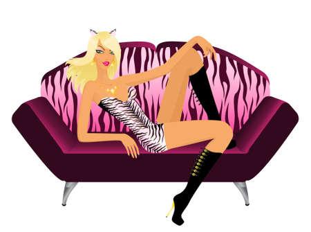 tigresa: hermosa chica en el traje de tigresa se sienta en sof� para el d�a de San Valent�n
