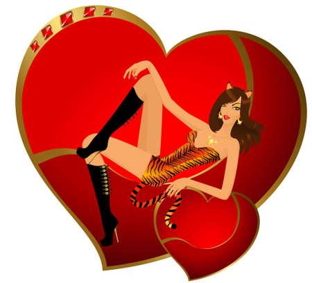 tigresa: hermosa ni�a en el traje de tigresa sentada sobre un coraz�n para el d�a de San Valent�n  Foto de archivo