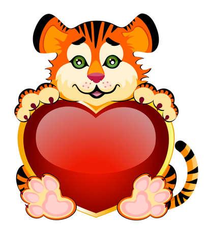 signo años 2010 es un hermoso Tigre poco con el corazón en segundo plano