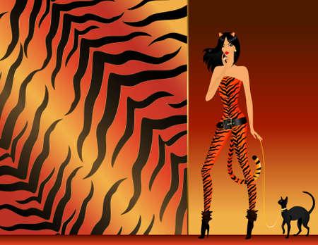tigresa: hermosa chica en una tigresa de traje con gato