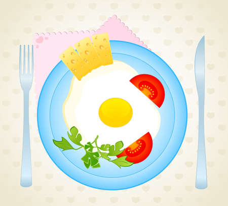 the appetizing delicious fried eggs on a dish are decorated a tomato and cheese photo