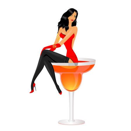 copa de martini:  hermosa joven en vestido rojo Vectores