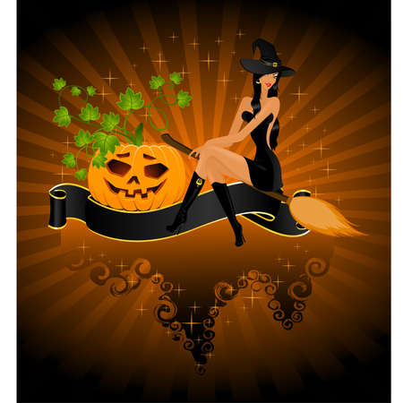 beautiful sexual witch sits on a pumpkin Vector