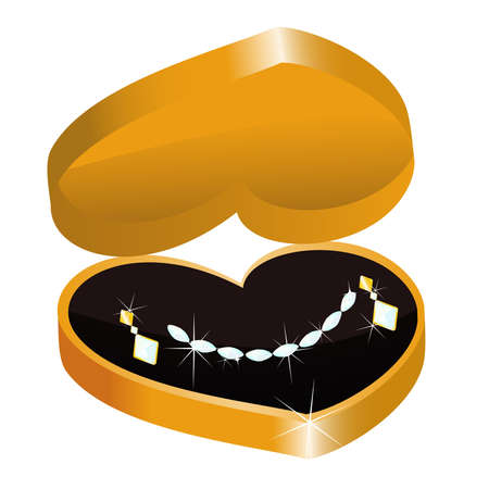 gold necklace: Gold Necklace And Earrings Illustration