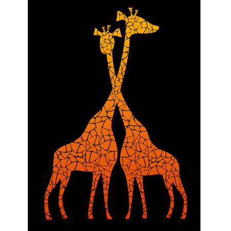Schaduwen van giraffes tegen een daling in een safari