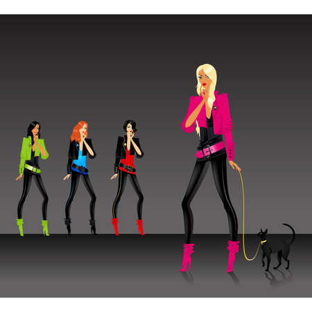 beautiful fashionable glamour girls with a cat Vector