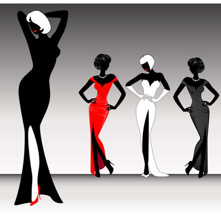 happy black woman: set of beautiful silhouettes of girls on background for a design