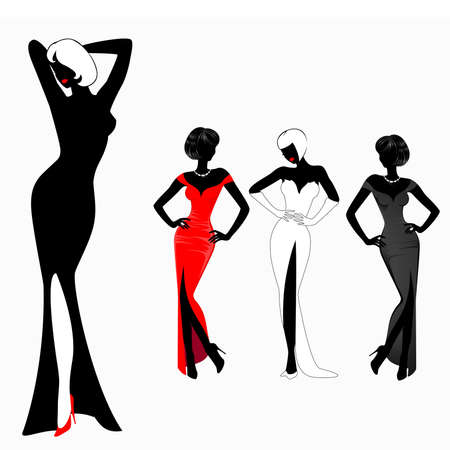 sexuality: set of beautiful silhouettes of girls on background for a design