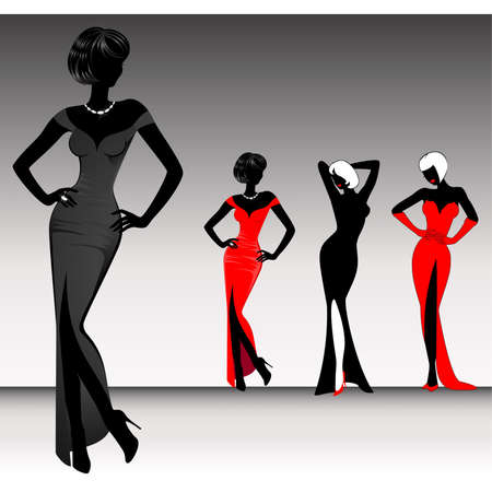 fashion silhouette: set of beautiful silhouettes of girls on background for a design