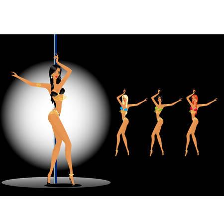 set of beautiful young women dancing a striptease Vector