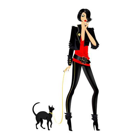 dress coat: ragazza bella moda glamour con un gatto  Vettoriali