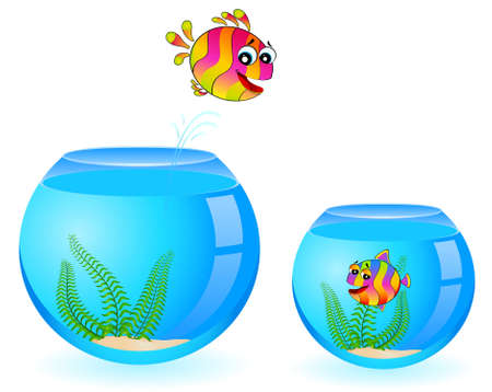 colorful tropical fish pursues after little fish Stock Photo - 6457040