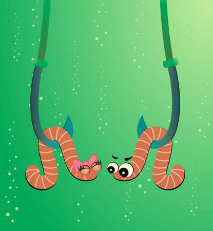 cartoon two worms hang on hooks under water Stock Photo - 6457007